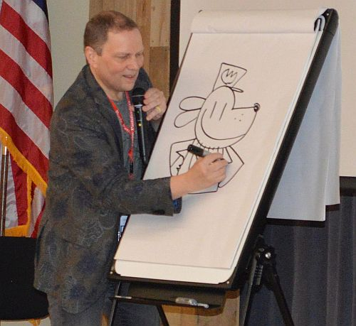 Gordon ES Students meet author Dav Pilkey