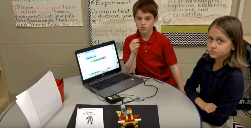 3rd graders in Ms. Sanders class show off their Lego Machine Invention.