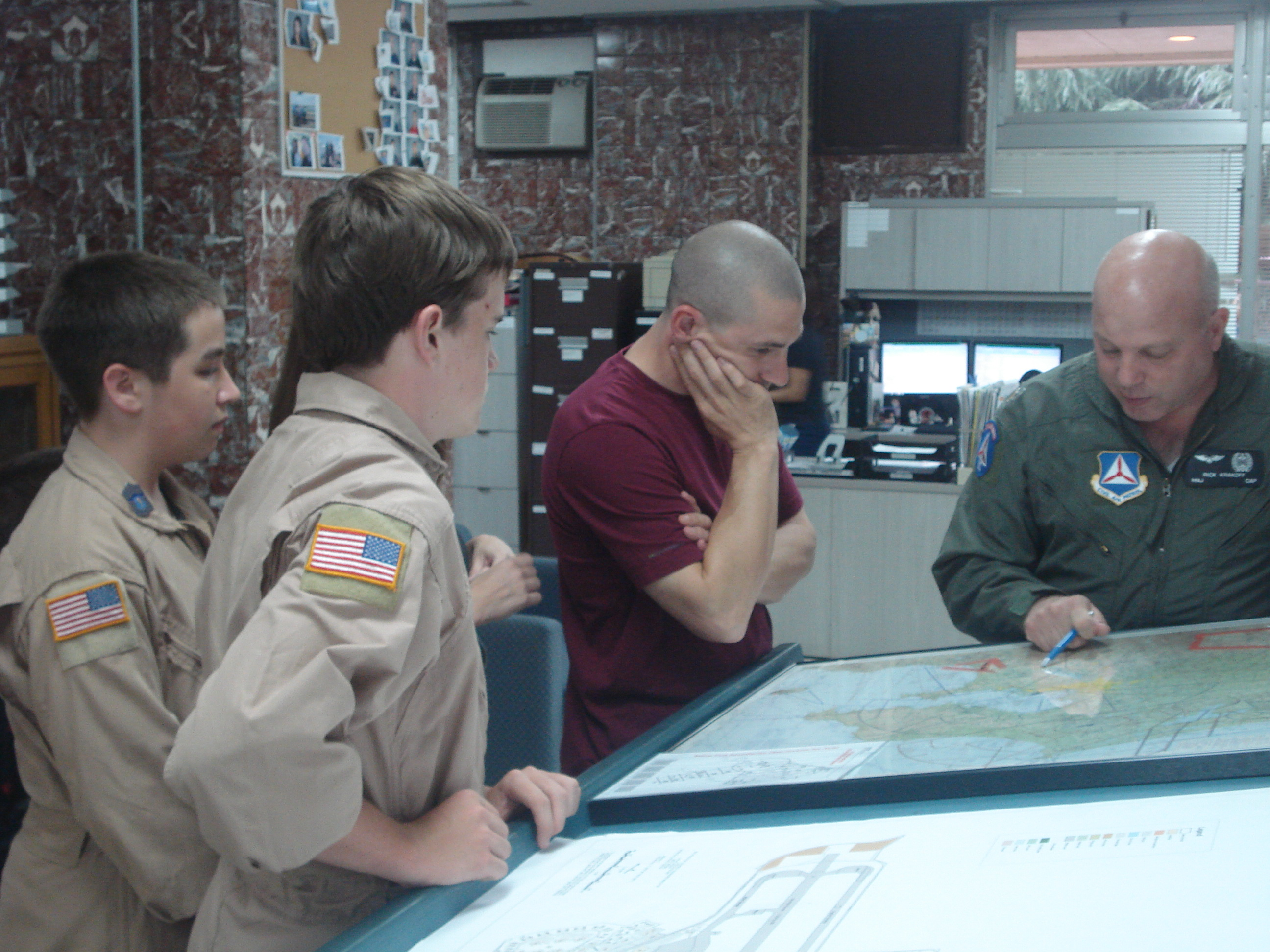 Maj Krakoff briefing the mission profile to the cadets