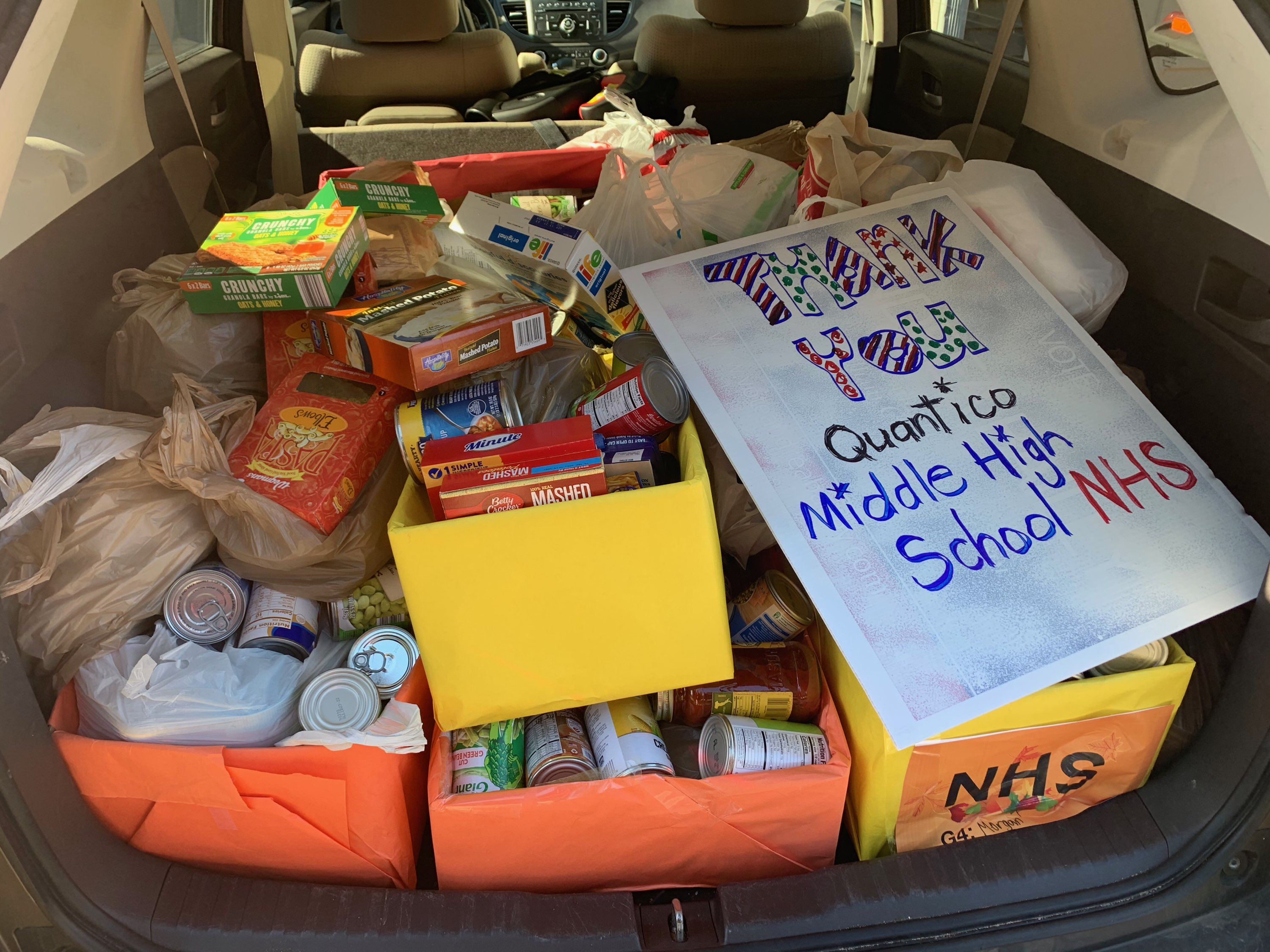 The QMHS National Honor Society sponsored a food drive for the local food pantry.