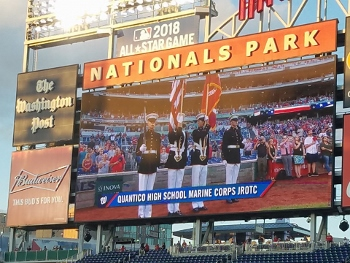 Quantico MCJROTC Color Guard Presented Colors during the September 12, 2016, Nationals game