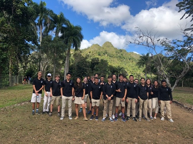 Mr. M. Guzmán- guide with Spanish and Music students at Caguana Ceremonial Site, Utuado.