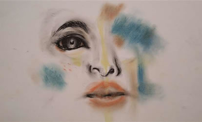 Drawing of face with dramatic splashes of color covering portions of the face.
