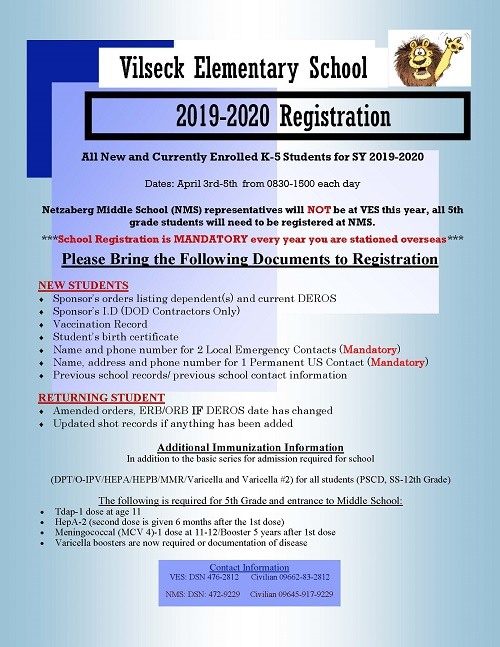 Registration 2019-2020 community flyer