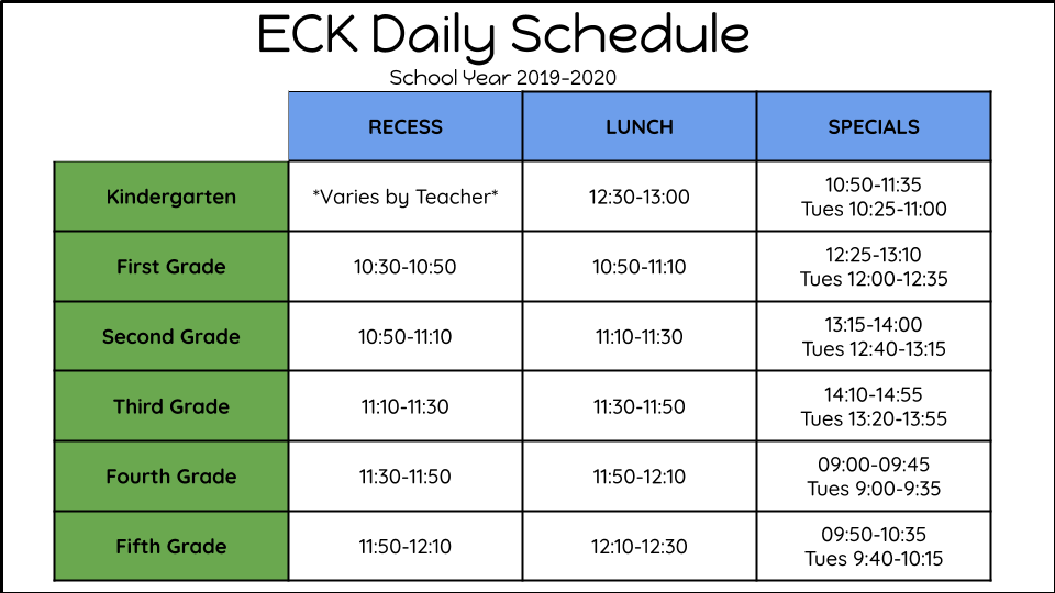 ECK Daily Lunch and Specials Schedule for 2019-2020