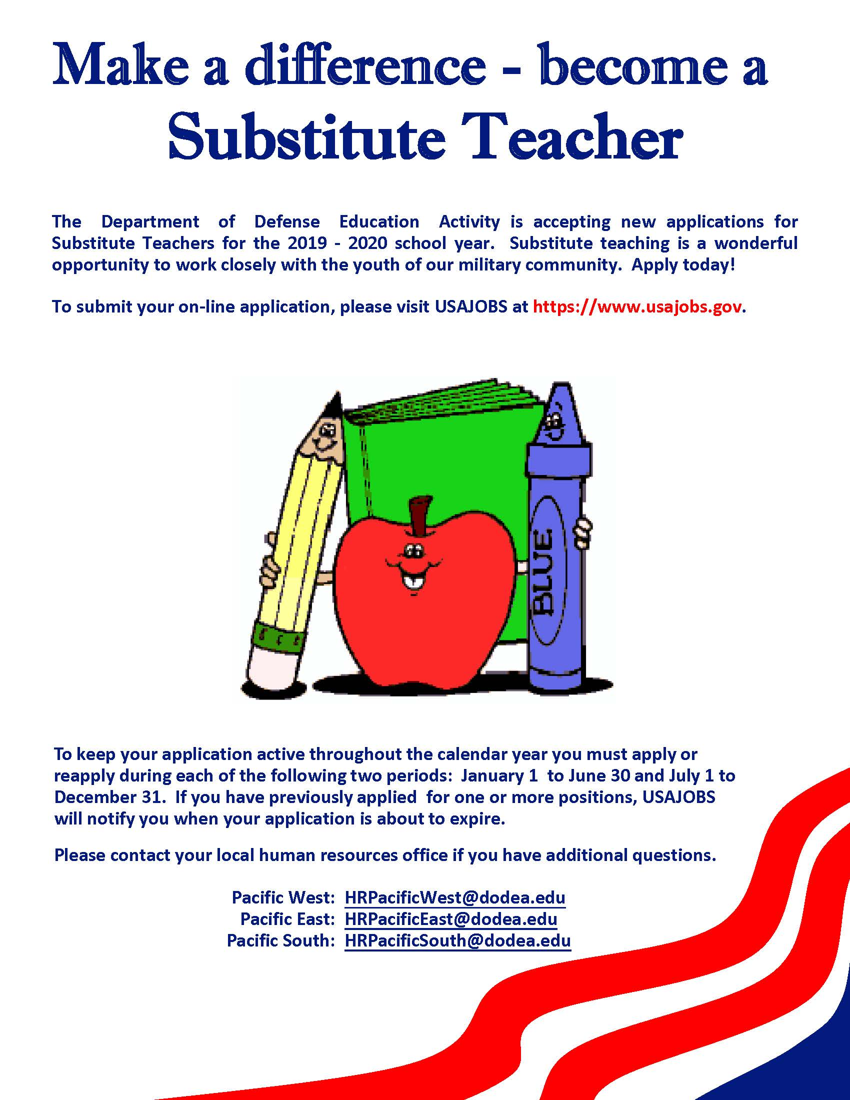 Substitute Hiring Flyer - Pacific Region