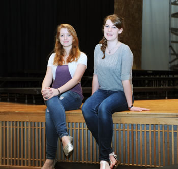 Student actresses pose on the Lejeune High School stage aboard Marine Corps Base Camp Lejeune April 9