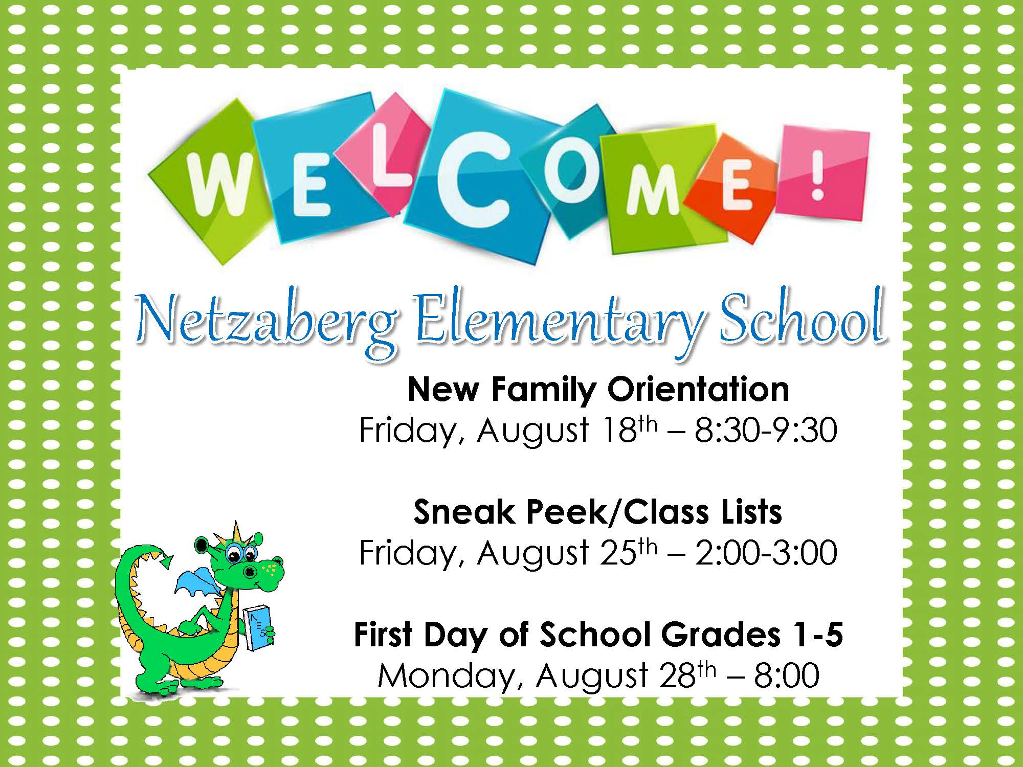 Permanent Link to Welcome Back to Netzaberg Elementary School 2017-2018