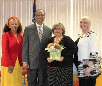 Mrs. Carricia Simpson, Assistant Principal, Mr. Michael Johnson, Principal, Mrs. Theresa Martin, 2019 Mid-Atlantic Teacher of the Year, and Mrs. Helen Balilo, Community Superintendent